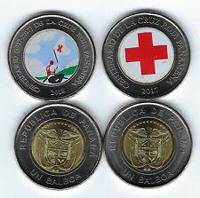 2019 New colored Panama coin set / One Balboa RED CROSS  2017-18 (Cruz Roja) 2