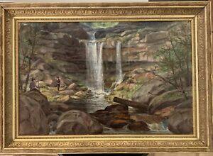 Vintage Hudson River style Landscape with figures