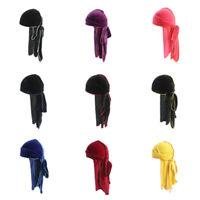 Unisex Men Women Velvet Double Colored Bandana Hat Turban Cap Durag Headwear