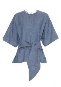 MSGM MILANO Designer Denim Cotton Flax Waist Tie Short Sleeve Top Sz40 10