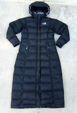 The North Face hooded Goose Down Puffer Long Coat Jacket Black Sz XS