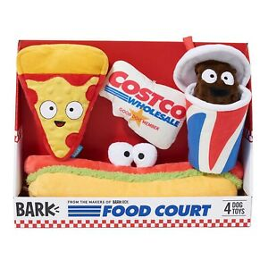 BARK Costco Food Court Dog Toy Set, 4-pc soda card pizza hot dog Limited Release