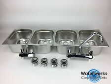 Large Concession Sink 4 Compartment Portable Food Truck Trailer w/Faucets