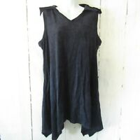 New AnyBody Terry Tunic Top L Large Petite Navy Blue Petite Hoodie Pullover