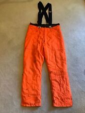 Neon Orange Insulated Padded Work Ski Construction Pants  Pockets Zipper Ankle S
