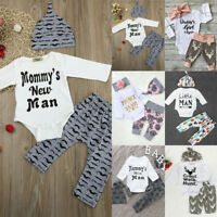 3PC/4PC Newborn Baby Boy Girl Romper Tops +Long Pants Hat Outfits Clothes Xmas