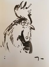 JOSE TRUJILLO ORIGINAL New Work ABSTRACT EXPRESSIONISM INK WASH 18X24 ROOSTER 11