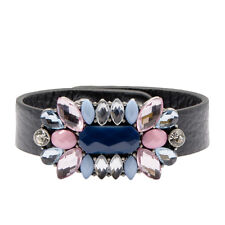 Silver Black Jewel Leather Cuff Bracelet Floral Pastel | FREE SHIPPING & 50% OFF