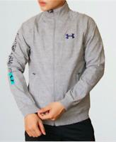 SLIM FIT Under Armour Men Cotton Fleece Full Zip Jacket Sweater Blue Grey Sport