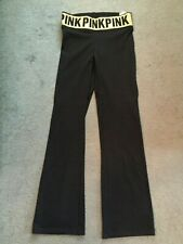 """NWT VICTORIA'S SECRET """"PINK"""" BLACK WITH GOLD BLING YOGA LEGGINGS> SIZE S"""