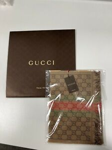Gucci Monogram Logo Wool & Silk Men's Scarf