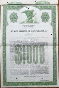 Cape Girardeau, MO SPECIMEN 1958 School Bond Certificate - Missouri