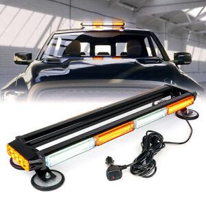 """Amber White 26"""" COB LED Strobe Light Bar Rooftop 360 Coverage Traffic Advisor"""