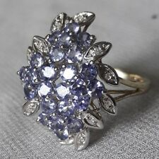 Spectacular Solid 9 Carat gold 9ct Gold Amethyst & Diamond Ring Hmkd 3.5g Size O