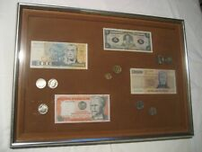 Framed South American Money-Paper Currency and Coins. Brazil, Ecuador, Uruguay +