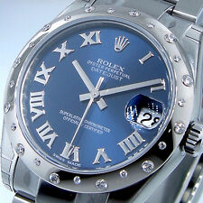 UNWORN ROLEX 178344 31 mm MID SIZE DATEJUST 24 DIAMOND STEEL BLUE ROMAN OYSTER