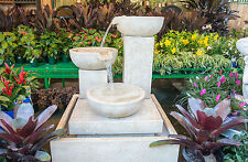 Large Outdoor Patio Garden Water Feature Trio Cascading Cup Fountain Sandstone