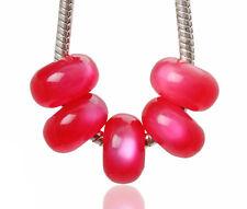 Lots 10pcs Red Cat-eye Styles Resin Big Hole Beads Fit European Bracelet Charm