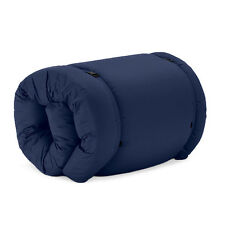 Navy Brooklyn Roll Out/Fold Up Futon Mattress Twill Cotton Guest Bed Sleep Over