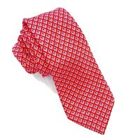 "CANALI Red Geometric Pattern 100% Silk Tie Made in Italy 62"" L x 3"" W NWOT"