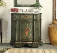"35"" HAND PAINTED DARK GREEN CROSSFIELD BATHROOM SINK VANITY CABINET  # HF-090G"