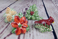 Christmas Candle Climbers S/4 Holly Pinecone Poinsettia Red Cardinal Russ Berrie