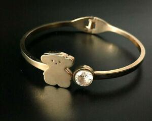 10k Gold Bear & Crystal Women's Hinge Bracelet Tous Inspired