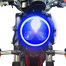 METALLO NERO MOTO LED FANALE IN BLU Halo ANELLO PER YAMAHA XJR1200 1300