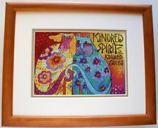 Kindred Spirits by Laurel Burch Matted & Framed Abstract Cat & Dog Animal