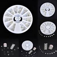 Nail Art Manicure Tips Acrylic Pearls Beads Gems Glitter White DIY Decoration