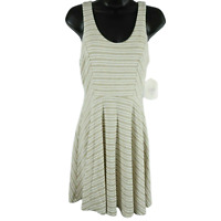 NWT Altar'd State Taupe & White Striped Sleeveless Dress Women's Size Small