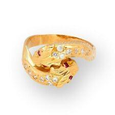 Vintage 22Carat Yellow Gold White Sapphire & Rubellite Panther Ring (Size L)