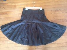 CAbi Chocolate Brown Cotton Gored Skirt Size 2 Nwot