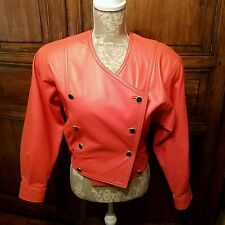 Laurel Escada Vintage Leather Jacket Cropped Orange Coral Bomber NO SIZE TAG