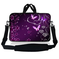 """14.1"""" 14"""" Laptop Sleeve Bag Case w Shoulder Strap and Handle Purple Butterfly"""
