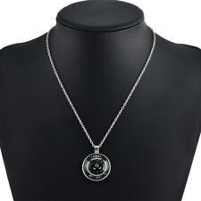 Glass Cabochon Mysterious Black Cat Picture Vintage Pendant Necklace for Women