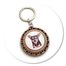 Chihuahua Dog short haired  Wooden  keyring key ring black & tan Chi