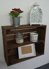 Wooden Shelves Apple Crate Vintage Style Display Unit Brown Long Shelf