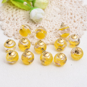 10pcs Ocean shell Round Glass ball pendant earring Jewelry Accessorie 25mm