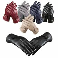 Women Girl Gloves Genuine Lambskin Leather Warm Driving Soft Lining Thermal Pair