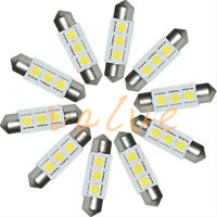 10PCS White 36MM 3 LED 5050 SMD Festoon Dome Car Light Interior Lamp Bulb 12V