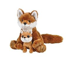 "Red Fox with Baby Plush Stuffed Toy 11"" High"