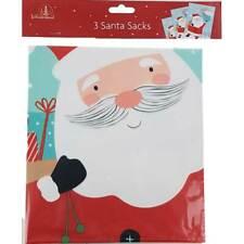 Pack of  3 Giant Large Plastic Christmas Santa Sacks Gift bags