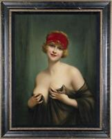 Hand-painted Old Master-Art Antique Oil Painting Portrait nude girl on Canvas