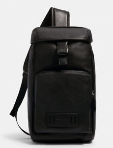 Coach 2943 Leather and Nylon Black Ranger Pack Crossbody Bag $398 Men's Backpack