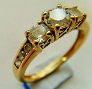 14ct Gold Solitaire Ring With Accents U.K Size Q Fully Hallmarked