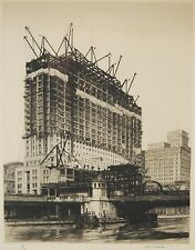 "Samuel Chamberlain ""Soaring Steel"" Etching Construction of Chicago Sky Scraper"