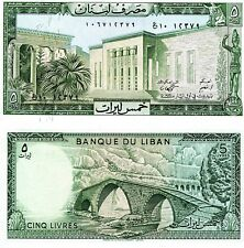 LEBANON 5 Livres Banknote World Currency Money BILL Asia p62d Note 1986 Bridge