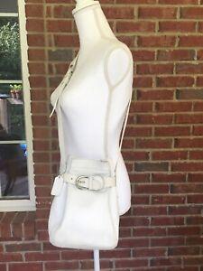 White Coach Legacy Leather Drawstring Bucket Bag Purse Vintage Buckle