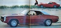 1969 Chevrolet Camaro SS Coupe and Corvette Stingray 2 page Vintage Print Ad